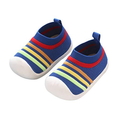 DEBAIJIA Zapatos para Niños 1-3T Bebés Caminata Zapatillas Niñas Suela Suave Malla Transpirable TPR Material 18/19 EU Azul (Tamaño Etiqueta 15)
