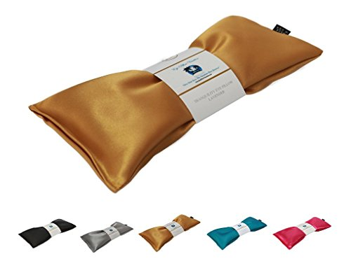 Lavender Eye Pillow - Migraine, Stress & Anxiety Relief - #1 Stress Relief Gifts - Made in USA,! (Gold - Ultra Silky Satin)
