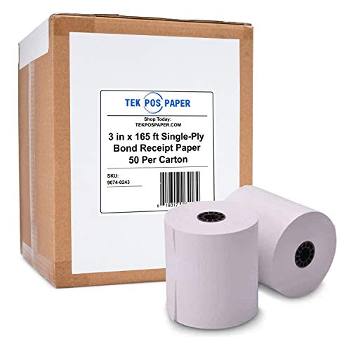 "TEK POS - 1-Ply - Kitchen Printer Bond Receipt Paper - 3"" x 165' - White - 50 Rolls - USA Made"