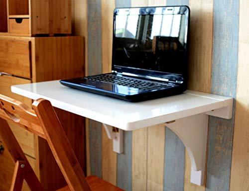 QZH Tavolo Drop Leaf, Tavolo Pieghevole da Appendere a Parete Tavolo da Pranzo Tavolo da Parete Scrivania per Computer Tavolo da Apprendimento Scrivania Originale, Colore Bamboo Bianco