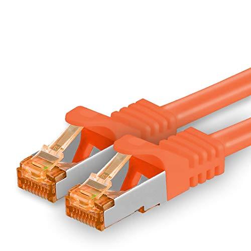 1aTTack.de 2m - Cat.7 Netzwerkkabel Orange - 1 Stück Gigabit Ethernet LAN Kabel 10000 Mbit s Patchkabel Cat7 Kabel S FTP PIMF Schirmung LSZH Cat.7 Rohkabel Rj45 Stecker Cat 6a - 1 x 2 Meter