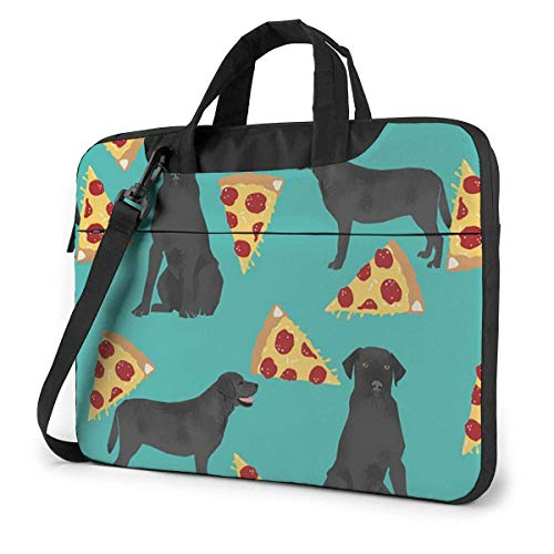 Laptop Bag Satchel Tablet,Black Lab Pizza Notebook Sleeve Carrying Case,Computer Shoulder Messenger For Business Casual or School With Shoulder Straps & Handle