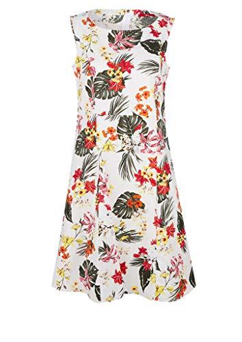 s.Oliver Damen Kleid mit Allovermuster Off-White All Over 36