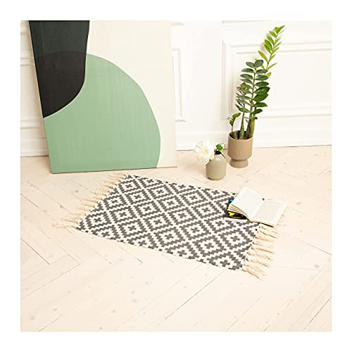 Alfombra pequeña negro/blanco para cocina, pasillo, baño, aseo, entrada, balcón, vintage, lavable, 60 x 90 cm