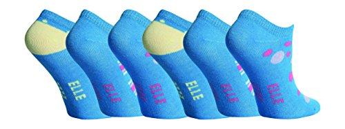 Elle - Mädchen 6 Paar Unsichtbar Quarter Kurzsocken Sneaker Socken in 5 Farben (2-3 Jahre, Wasserblau)