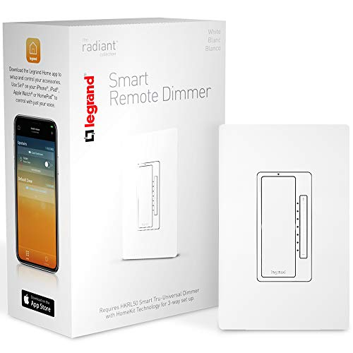 Legrand - Pass & Seymour Legrand Dimmer Light Remote Accessory for Smart Switch iOS to Setup & Can Be Used with Apple HomeKit-No Hub Required, HKRL60