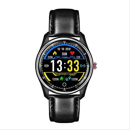 Sioneit ECG Business Smart Watch Hombres Mujeres Monitor De Presión Arterial De Frecuencia Cardíaca Reloj Inteligente Deportivo Reloj para Xiaomi Huawei iOS Cuero Negro