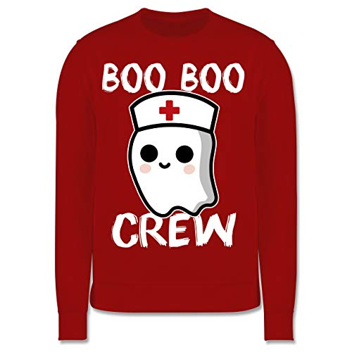 Shirtracer Halloween Kind - Boo Boo Crew - weiß - 104 (3/4 Jahre) - Rot - Spruch - JH030K - Kinder Pullover