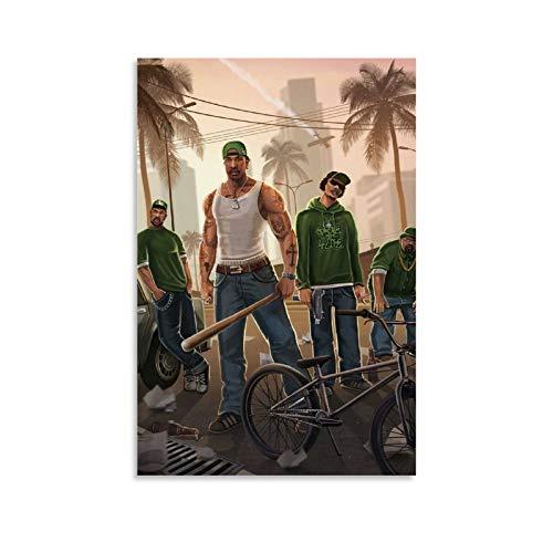 Cool GTA San Andreas Poster Cuadro decorativo Lienzo Arte Pared Sala Póster Dormitorio Pintura 20x30inch (50x75cm)