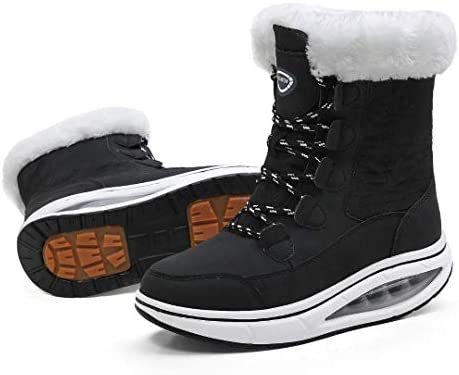 binkasen Women Snow Boots Warm Lace up Mid Calf Boots Winter Walking Shoes Cotton Lined Comfortable product image