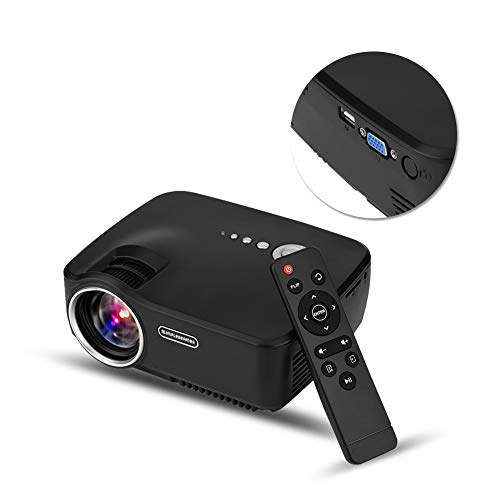Mini beamer 1080p Full HD, draagbaar 1200 lumen kijkdeoprojector voor thuisbioscoop, kantoor, met 20.000 uur leds, max. 150 inch display, verbinding met HDMI, VGA, AV, USB, SD, tv-tuner, 3,5 mm audiostekker.