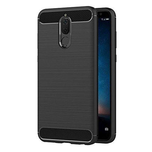 Hoesje voor Huawei Mate 10 Lite/Nova 2i / Honor 9i (5,9 inch Scherm) Geborsteld Koolstofvezel TPU Schokbestendige Antislip Zachte Beschermende Case (Zwart)