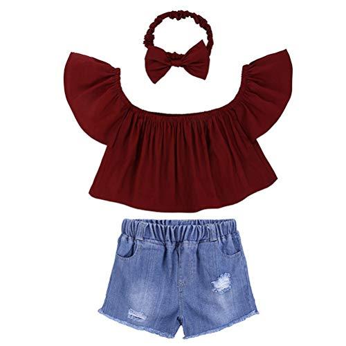3Pc Mignon Bébé Fille Rouge Hors Épaule Haut Trous Shorts Jeans Bandeau Tenues Ensemble