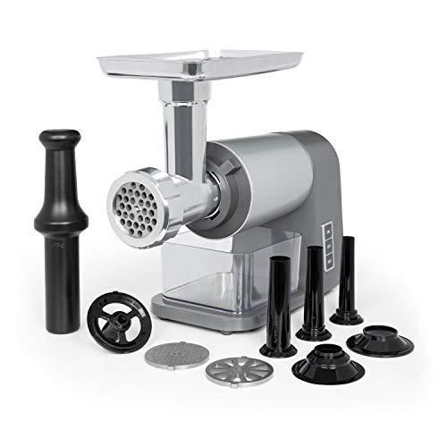 Klarstein Mett Max - Hachoir éléctrique, 600 watts, marche arrière, lames en acier inoxydable, grande coupe en aluminium et bac récupérateur, gris