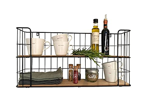 UKIYO Estantería de pared vintage de madera y metal, color negro, con 2 baldas, para cocina, baño, 66,5 x 33 x 14 cm