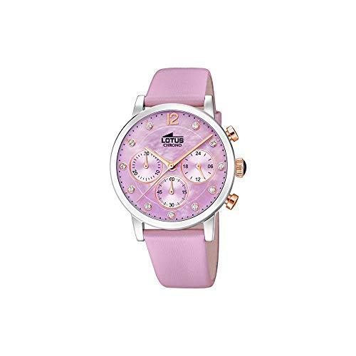 Lotus dames chronograaf kwarts horloge met lederen armband 18674/4