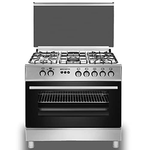 EAS ELECTRIC SMART TECHNOLOGY | EFG9B60X | Cocina de gas Inox | Color Inox | 90 cm | Gas butano y gas natural | Autoencendido | Horno 122 litros | Tapa de cristal y aluminio | Válvula FFD | 5