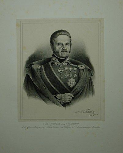 Portrait. Brustfigur en face in Uniform mit zahlreichen Orden. Lithographie auf aufgewalztem Chinapapier von A. Gatterer.