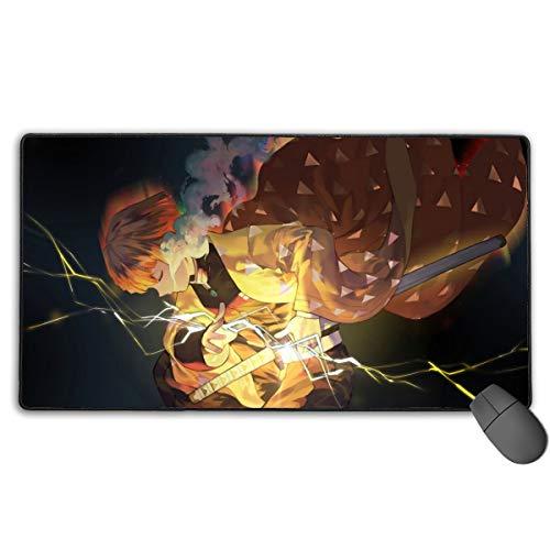 Demon Slayer Zenitsu Agatsuma Anime Mouse Pad Large Gaming Mousepad Extended Desk Mat 29.5'x15.7' Long Non-Slip Rubber Desk Pad for Gamer Office Home