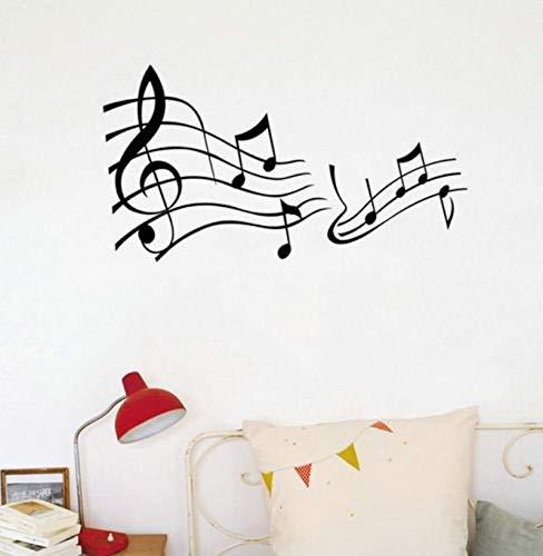 Tianpengyuanshuai Vinyl Musik Wandaufkleber Musiknote Dekoration Korridor Schwarz Vinyl Wandkunst Aufkleber -63X120cm