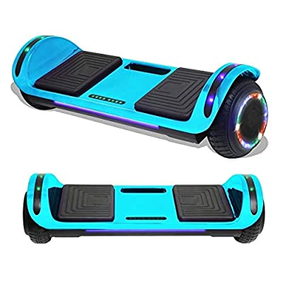 TPS Flatboard Hoverboard Self Balancing Scooter with Speaker LED Lights Flashing Wheels for Kids and Adults- UL Certified (Chrome Blue)
