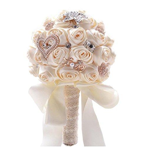 Bouquet di nozze avorio raso rose strass cristallo diamante spilla fiore buquets sposa per la sposa
