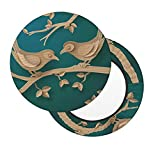 Spring Summer Wood Birds Green Background Bar Stool Covers, Washable Round Chair Seat Slipcover 13 Inch