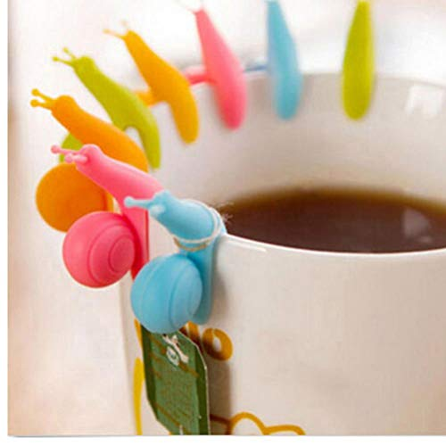 Oulensy 10Pcs / Lot Nette Schnecke-Form-Silikon-Tee-Beutel-Halter-Schalen-Becher-Süßigkeit-Farben-Geschenk-Set Guter Tee Werkzeuge zufällige Farbe