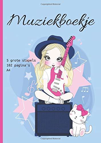 Muziekboekje: Manuscript papier notitieboek voor kinderen en tieners - 5 grote stapels per pagina (51 vellen/102 pagina's) -A4 formaat (21 x 29,7 cm) - Girly Cover