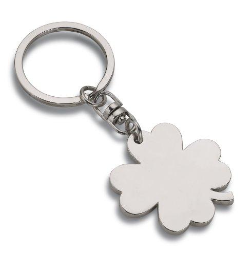 Wedo 2053409 Schlüsselanhänger Kleeblatt (aus Metall) silber