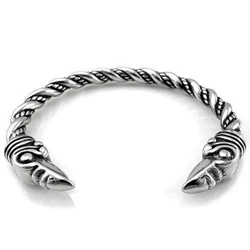 Brazalete de acero inoxidable sólido para Vikingos Hugin & Munin II
