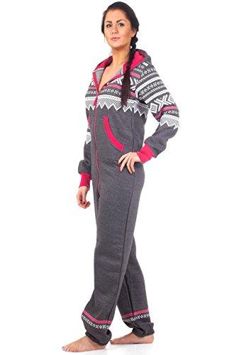 Loomiloo® Jumpsuit Onesie Overall als Freizeitanzug Hausanzug Trainingsanzug Pyjama für Damen und Herren (M/L, Dunkelgrau) - 2