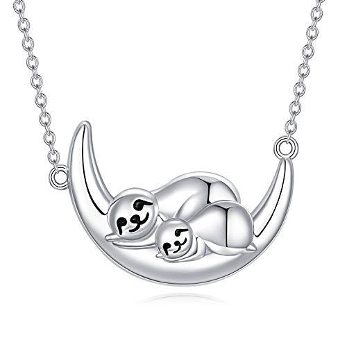 Faultier Kette Faultier Anhänger Halskette Damen 925 Sterling Silber Tier-Anhänger Schmuck (D-# Faultier Halskette)