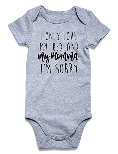 Baby Boy Onesie I Only Love My Bed And My Momma I'M Sorry Letter Print Short Sleeve Romper Bodysuits Newborn outfit Infant Cotton Grey Jumpsuit