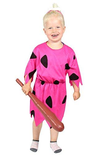Foxxeo pinkes Steinzeit Mädchen Kostüm für Fasching und Karneval Paarkostüm Partnerkostüm Kinder Größe 122-128