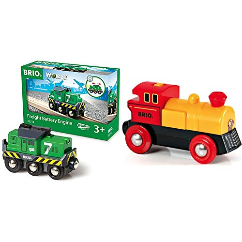 BRIO World 33214 - Freight Battery Engine - 1 Piece Wooden Toy Train Set for Kids Age 3 and Up & World - 33594 Two-Way Battery-Operated Engine | Train Toy for Kids Ages 3 and Up