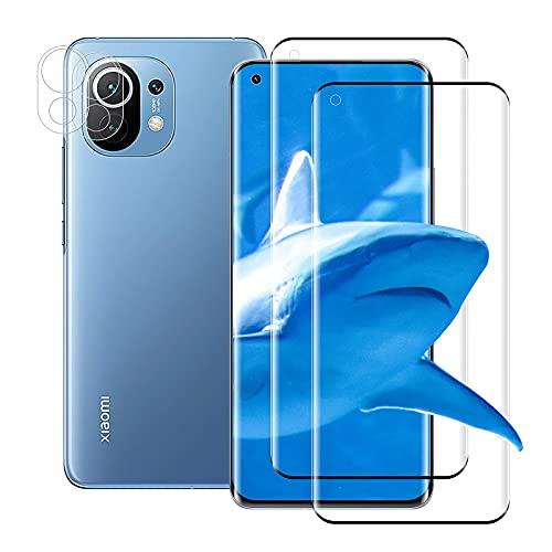 (2+2 Stück) Panzerglas für Xiaomi Mi 11/Mi 11 Pro + Kamera Schutzfolie, Anti-Kratzen Displayschutzfolie, 3D Voller Glas Folie, 9H Panzerglasfolie für Xiaomi Mi 11/Mi 11 Pro (Schwarz)