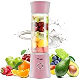 Yeaki Portable Blender, Powerful Personal Blender for Smoothie and Shakes, 16oz Juicer Cup with Detachable Base, USB Rechargeable with Glass Bottle for Baby Food, Home Outdoor Office and Travel (pink)…