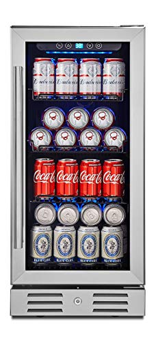 "Kalamera 15"" Beverage Cooler and Refrigerator Under Counter Built-in or Freestanding - 96 Cans Capacity Mini Fridge- for Soda, Water, Beer or Wine - For Kitchen or Bar with Blue Interior Light"