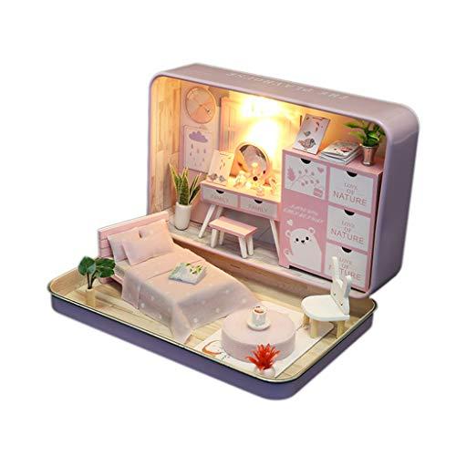 ATATMOUNT Caja de casa de muñecas en Miniatura Kit de casa de muñecas con Muebles de Madera casa de Madera Regalos románticos Juguete de cumpleaños