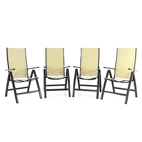 Nexos 4er Set Deluxe Klappstuhl gepolstert – Textilene Creme/Rahmen dunkelgrau - Gartenstuhl Liegestuhl – klappbarer Stuhl aus Aluminium & Kunststoff