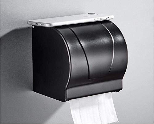 DXX-HR Space - Caja de papel higiénico tipo buzón de aluminio con dispensador de rollo de cubierta para baño, impermeable, caja de pañuelos