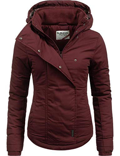 Sublevel dames winterjas met capuchon | gedessineerde jas in sportieve look in rood, blauw, wit en zwart