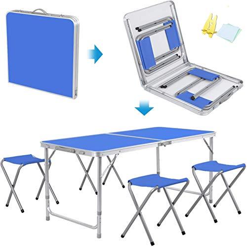 Barm Klapptisch Picknick-Camping-Tisch mit 4 Klappstühlen Tragbarer Gartentisch im Freien für Grill-Picknick-Party-Bankett Arbeitstisch verstellbar 120 cm blau