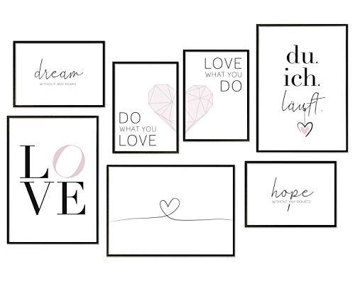 Hyggelig Home Premium Poster Set - 7 passende Bilder im stilvollen Set als Wohnzimmer Deko - Collage Wand Bild Schlafzimmer Flur Liebe Love - 3 x DIN A3 + 4 x DIN A4 - Set Liebe Ohne Bilderrahmen