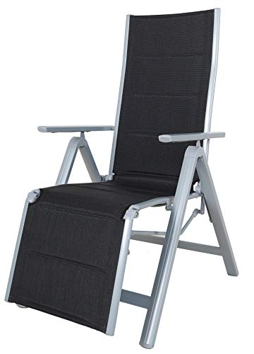 Chicreat Luxury Folding Lounger, Black/Silver, Aluminium