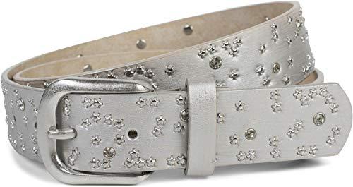 styleBREAKER Damen Gürtel mit Sternchen Nieten und Strass, Oberfläche in Pinselstrich Optik, Vintage Nietengürtel, kürzbar 03010096, Farbe:Silber, Größe:90cm