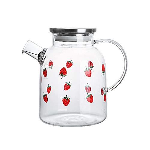 QINGGANGLING999 Jarra de Agua Juice Jug Jarra de Vidrio de Fresa con Tapa de Acero Inoxidable Tetera de Vidrio de Alto borosilicato con colador Puede ser un Regalo (1800 ml) Jarra de té Helados Pava