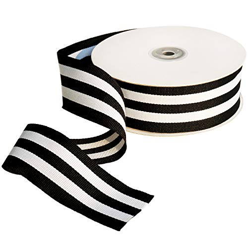 Black and White Taffy Striped Fabric Grosgrain Ribbon 1-1/2 Inch Wide 25 Yards Black Striped Ribbon for Favor Gifts Wraps Craft Trim Embellishments Party Bouquet Decoration Labor Day Supplies