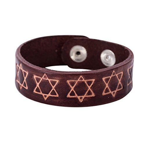 Cuero para Hombre estrella de David Pulsera Mujeres Cuff Pulseras hebreo citas hombres judío